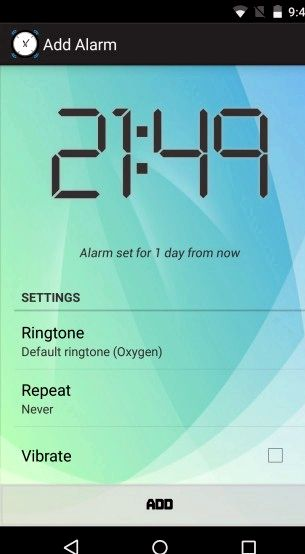 alarma del teléfono Android cuando se apaga
