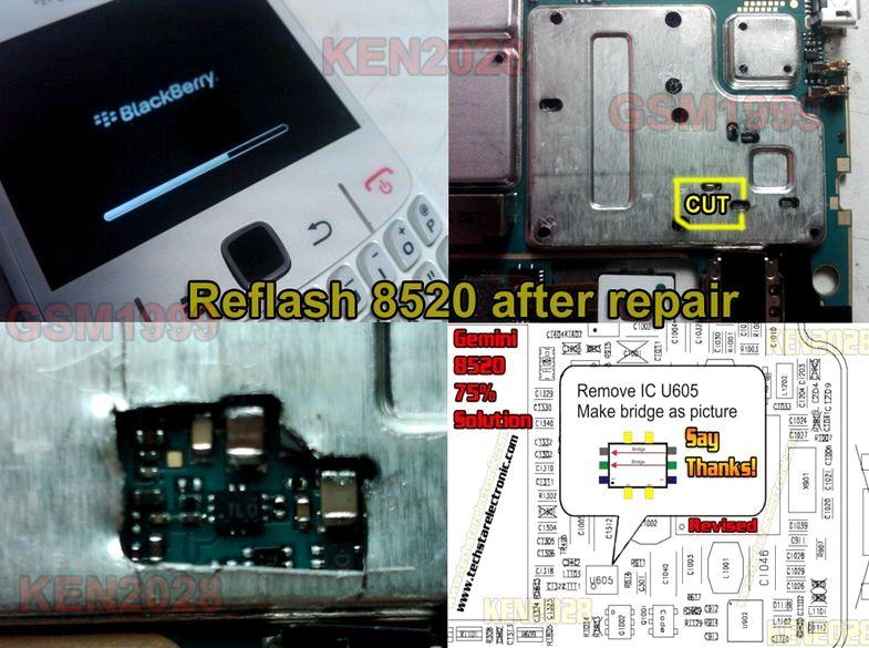 Blackberry 8520 pysähtyy käynnistettäessä