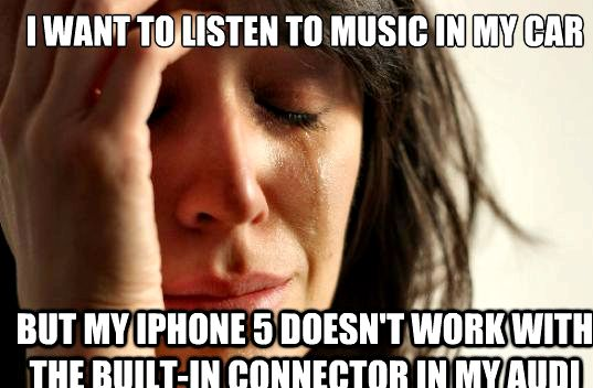 Como posso ouvir música no meu iPhone 5 no carro