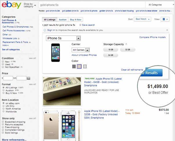 כמה עולה שווה זהב אייפון 5S
