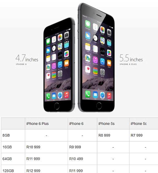 Ne kadar Güney Afrika'da bir iphone 6