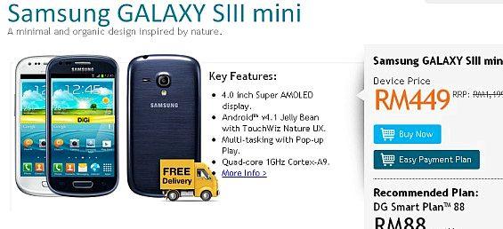 Kuinka paljon on Samsung Galaxy S3 mini Malesiassa