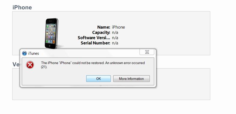 Iphone Fehler 21 bei der Wiederherstellung