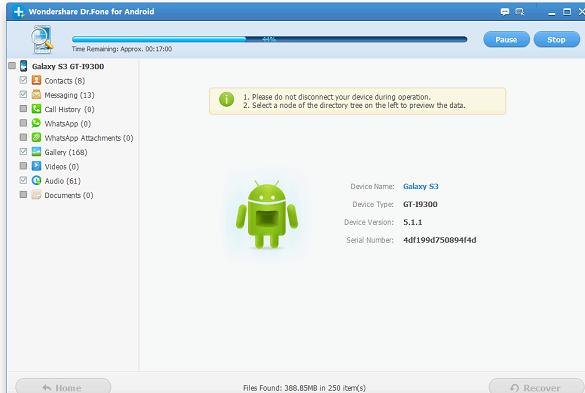 Samsung Galaxy Ace þar eru tengiliðir geymd