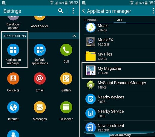 Missä on sovellus manageri Galaxy S4